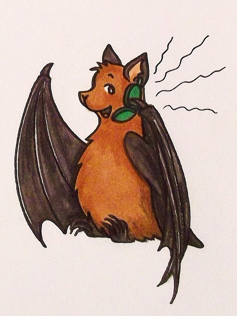 Die Zeichnung zeigt BUNDchen Fledermaus am Telefon // The drawing shows BUNDchen bat on the phone