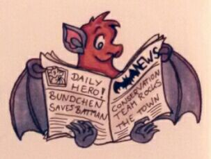 Die Zeichnung zeigt BUNDchen Fledermaus, der Zeitung liest // the drawing shows BUNDchen bat who is reading the newspaper