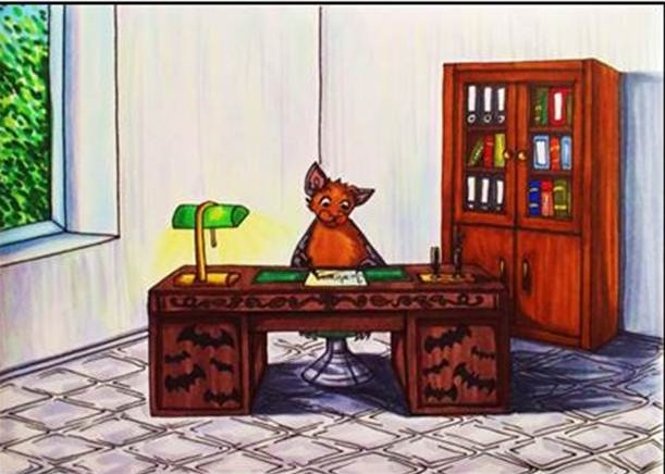 Die Zeichnung zeigt BUNDchen Fledermaus, der am Schreibtisch arbeitet // the drawing shows BUNDchen bat working at the desk