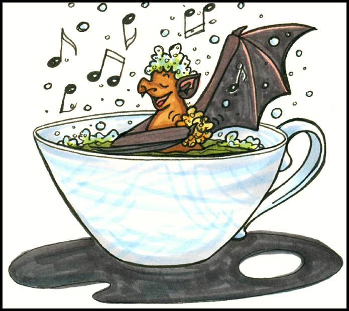 Die Zeichnung zeigt BUNDchen Fledermaus, der in einer Tasse ein Schaumbad nimmt // The drawing shows BUNDchen bat taking a bath in a cup.